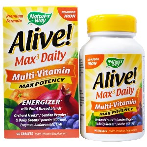 Alive Max 3 Daily Whole Food No Iron Added 90 Tablets